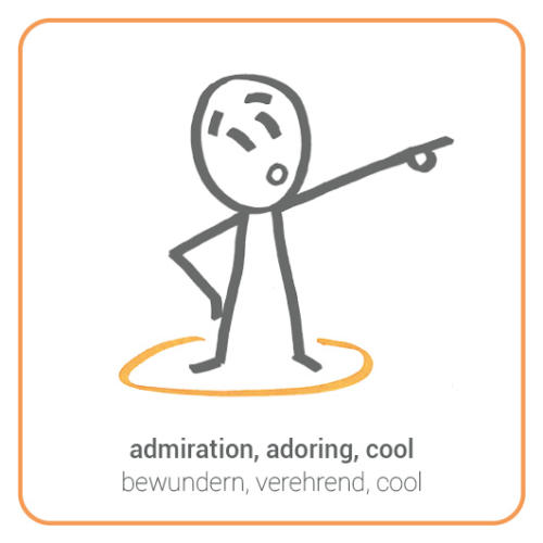 admiration, adoring, cool