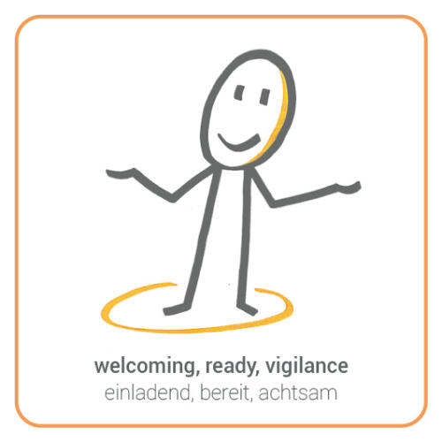 welcoming, ready, vigilance