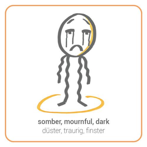 somber, mournful, dark, weeping, devastated