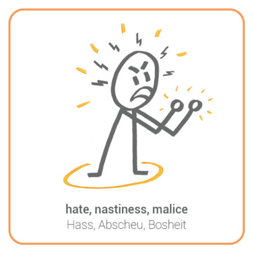 hate, nastiness, malice, anger, violent opposition