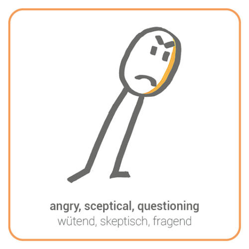 angry, sceptical, questioning, grumpy, opposed