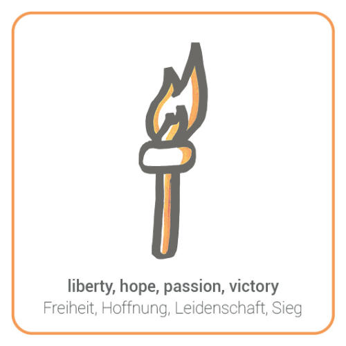 liberty, hope, passion, victory