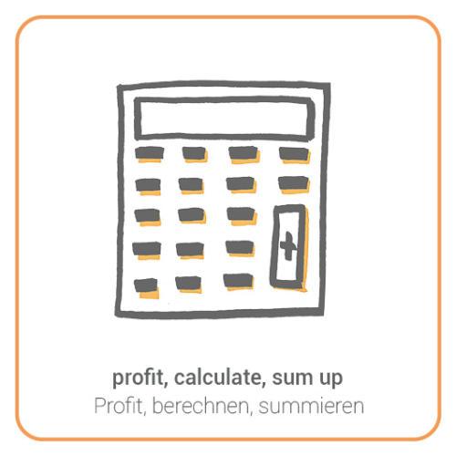profit, calculate, sum up